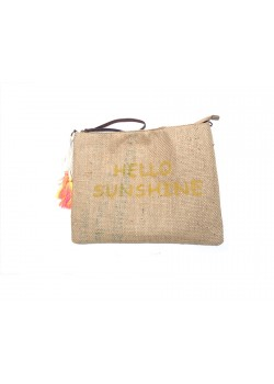 PRINTED BURLAP AND LEATHE CLUTCH