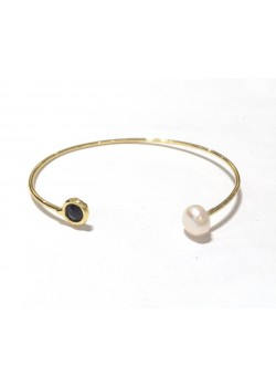 PEARL AND STONES GOLD PLATED CUFF