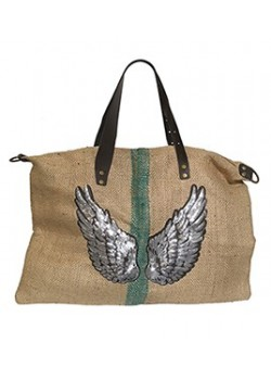 EMBROIDERED LEATHER AND BURLAP LARGE BEACH BAG