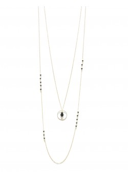 LONG DOUBLE ROW MINIMALIST PEAR STONE RING STAINLESS STEEL NECKLACE