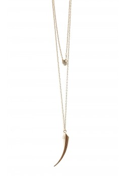 LONG KORN PENDANT STAINLESS STEEL NECKLACE