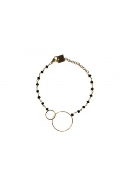 MULTI-STONE ENLACED CIRCLE GOLD STAINLESS STEEL BRACELET