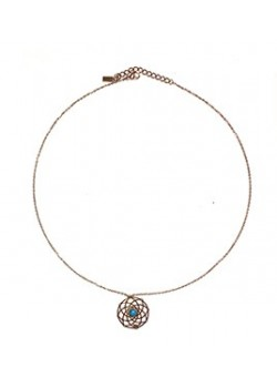 CIRCULAR DREAM CATCHER TURQUOISE STAINLESS STEEL NECKLACE