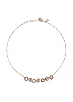 ROW OF FLOWER STAINLESS STEEL PINK GOLD NECKLACE