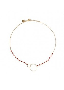 STAINLESS STEEL ENLACED CIRCLE NECKLACE WITH STONES