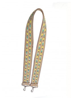 ETHNIC TEXTILE AND SYNTHETIC LEATHER BAG STRAP