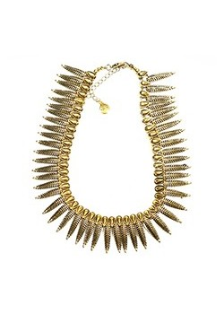 ROW OF ANTIQUE METAL FEATHER STATEMENT NECKLACE