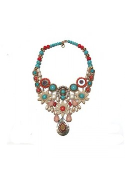 STATEMENT FLOWER PEARL TURQUOISE NECKLACE