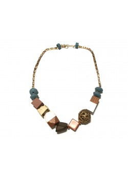 ETHNIC WOOD AND STONE BEADS NECKLACE