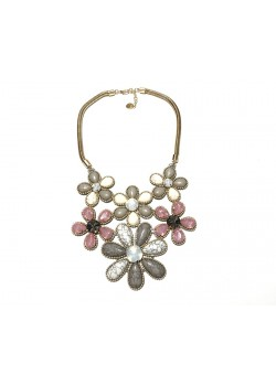 FLOWER MARBLE STYLE STATEMENT NECKLACE