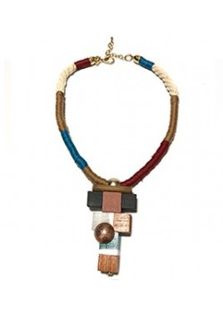 GEOMETRIC WOODEN COLORFUL ROPE NECKLACE