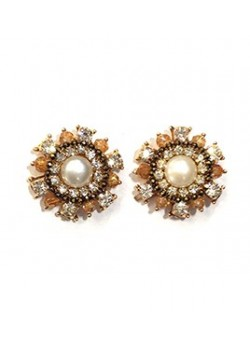 EARRING PEARL SURROUNDED BY STRASS
