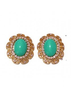 EARRING DECORATED TURQUOISE BOUTON