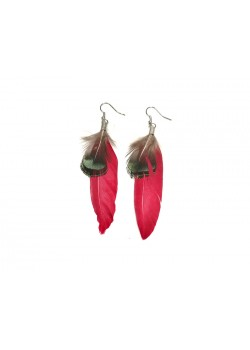 EARRING TINTED NATURAL FEATHER HOOK