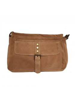 BELT FLAP STUDDED SUEDE LEATHER CLUTCH