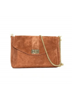 SUEDE LEATHER CHAIN FLAP BAG