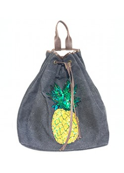 PINEAPPLE CANVAS AND LEATHER BACKPACK DRAWSTRING