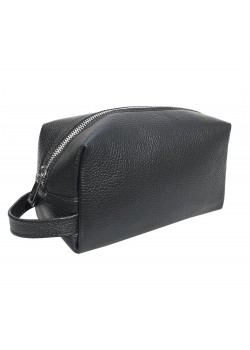 GRAINED LEATHER TOILETRY SOFT BAG