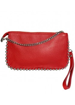 FLAT GRAINED LEATHER CLUTCH BAG WITH SILVER BALL