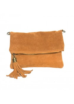 FOLDABLE SUEDE LEATHER POUCH TASSEL CLTCH BAG