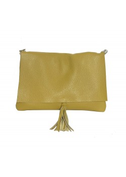 FLAP TASSEL SOFT GRAINED LEATHER CLUTCH BAG