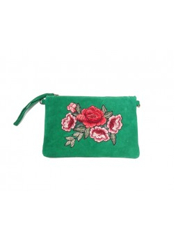 EMBROIDERED FLOWER SUEDE LEATHER CLUTCH