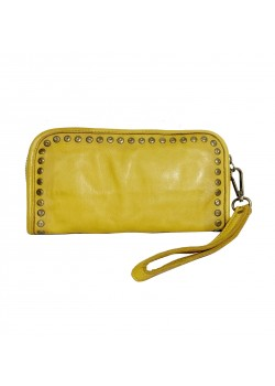 STUDDED GENUINE WASHED LEATHER WALLET