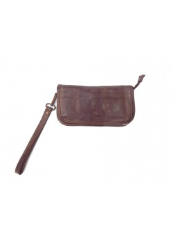 WASHED GENUINE LEATHER ZIP WALLET