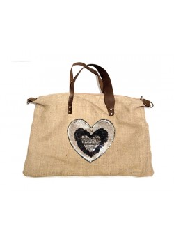 EMBROIDERED BURLAP AND LEATHER BEACH BAG BROWN HANDLE