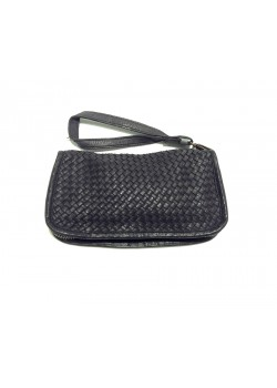 BRAIDED WASHED GENUINE LEATHER ZIP WALLET