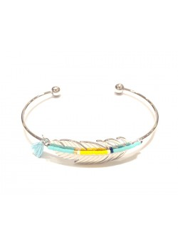 SEED BEADS FEATHER STAINLESS STEEL BRACELET