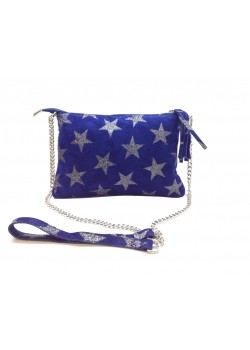 SUEDE LEATHER POUCH WITH PRINTED STAR