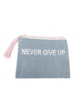 POUCH COTTON: NEVER GIVE UP