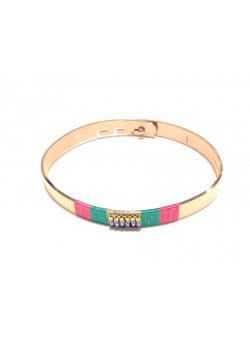 MULTICOLOR THREAD AND SEED BEADS STAINLESS STEEL BRACELET