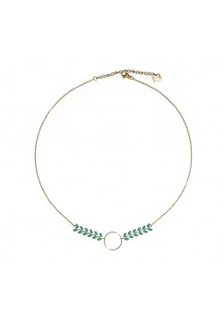 ENAMELED EAR OF CORN WINGS CIRCLE GOLD STAINLESS STEEL NECKLACE