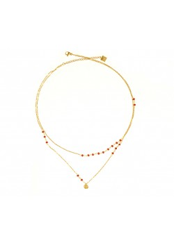 DOUBLE ROW STAINLESS STEEL NECKLACE MEDALLON