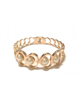 HEART AND PEARL STAINLESS STEEL GOLD BRACELET