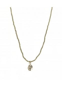 LONG STAINLESS STEEL MEDALLION NECKLACE