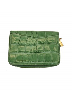 EMBOSSED CROCO LEATHER SQUARE ZIP WALLET