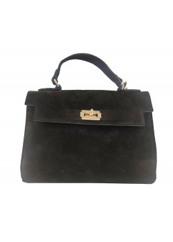 BAMBOO HANDLE REPTILE LEATHER BAG