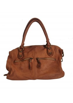 BRAIDED WASHED GENUINE LEATHER BOWLING BAG