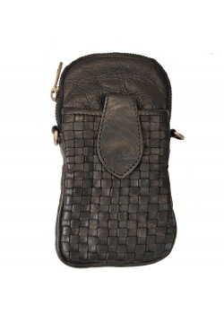 PHONE AND WALLET CROSSBODY LEATHER AND FUR BAG