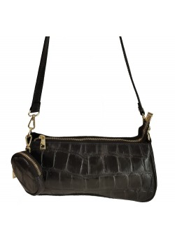 MULTI COMPARTMENT EMBOSSED LIZARD LEATHER CLUTCH BAG WITH HANGED WALLET