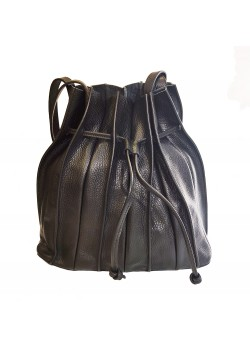 MIXED RECYCLED JEANS AND LEATHER BUCKET BAG